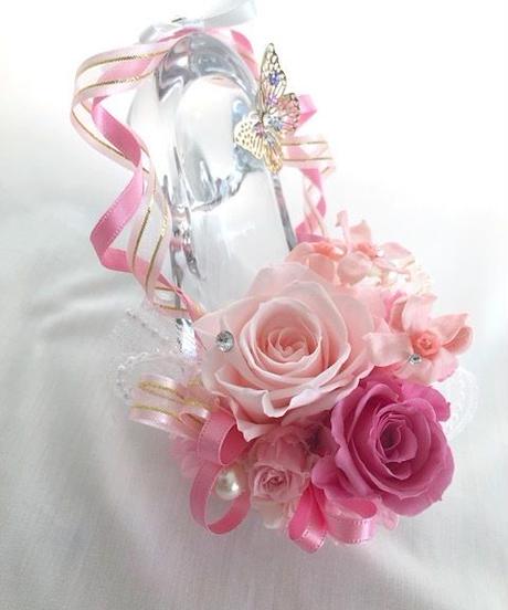 【プリザーブドフラワー/ガラスの靴シリーズ】プリンセスの魔法の時間【フラワーケースリボンラッピング付