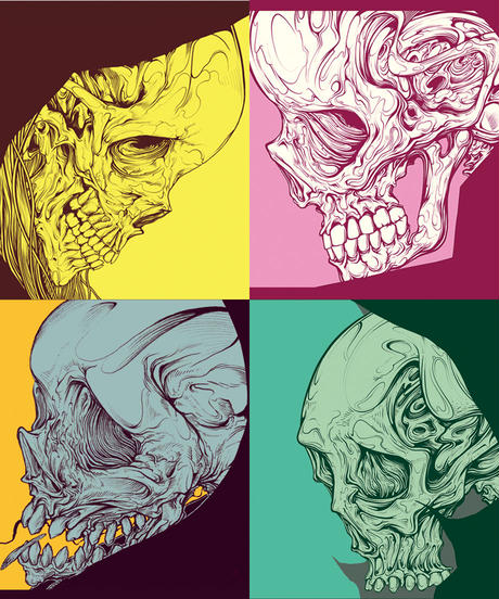 SKULL HEAD METALLIC STICKERS 3 (5cm x 5cm 4set)