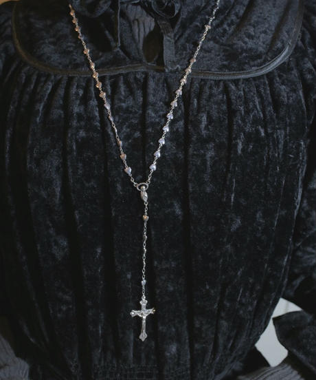 silver heart beads rosary