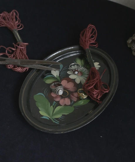 ATQ hand painted metal tray