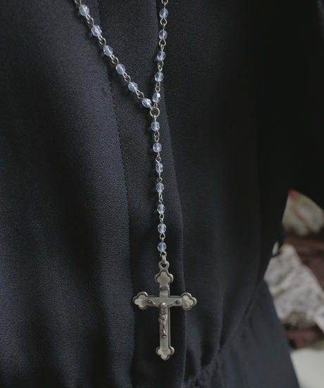VTG  clear blue beads rosary