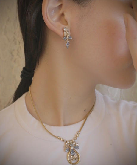 """40s french """"LEO GLASS""""  necklace  & earring SET"""