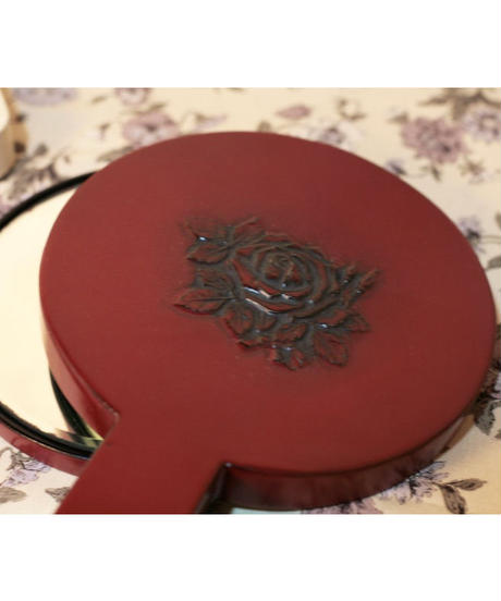 vintage  red rose hand mirror