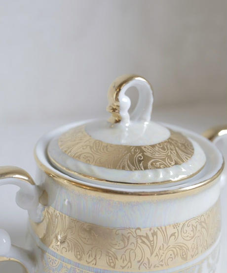 VTG aurora gold decorated sugar pot