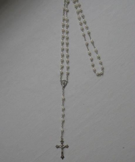 white ball beads rosary