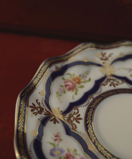 VTG blue rim bouquet tea cup