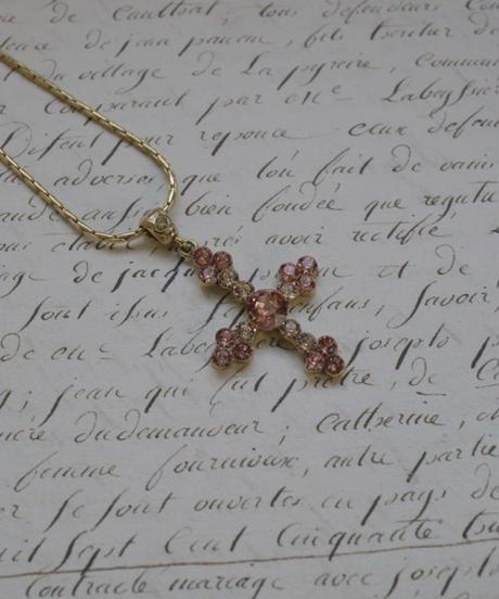 "french vintage""une ligne""  swarovski pendant pink gold"
