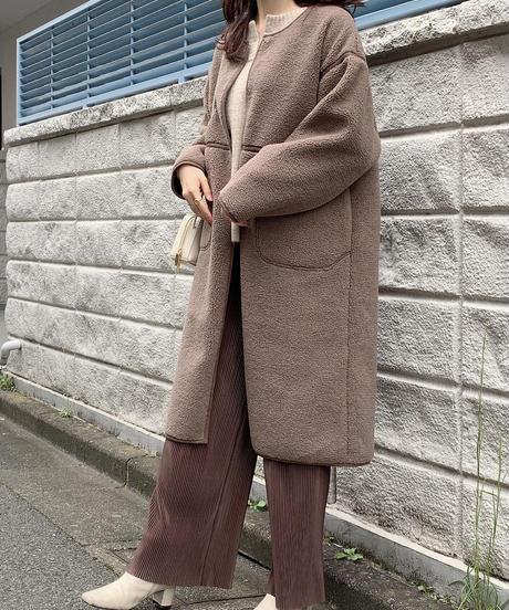 【再販】ボアムートンロングコート ブラウン