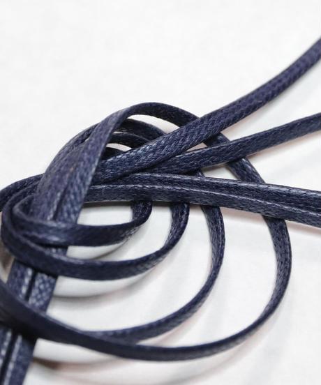 Navy Flat Shoelaces with Agret /●紐先金具込み/ 紺 / ネイビー / ロウ引き3mm幅平紐/ 長さ指定可