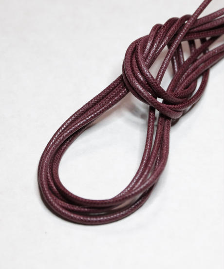 Wine Red Shoelaces with Agret /●紐先金具込み/ ワイン / ロウ引き丸紐/ 長さ指定可