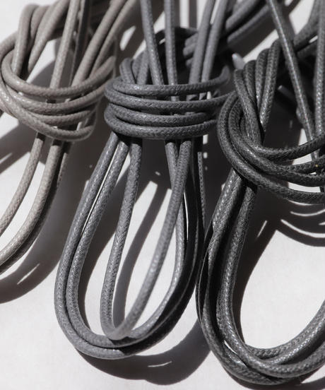 Dark Gray Shoelaces with Agret /●紐先金具込み/ ダークグレー / ロウ引き丸紐/ 長さ指定可