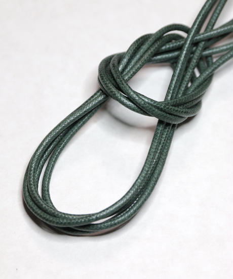 Green Shoelaces with Agret /●紐先金具込み/ 緑 / グリーン / ロウ引き丸紐/ 長さ指定可