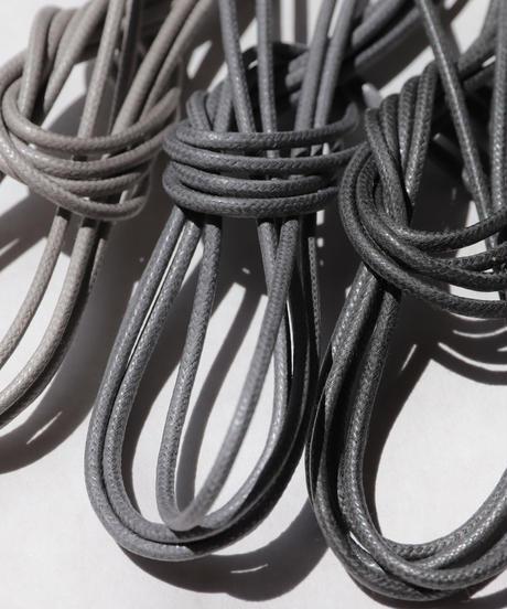 Light Gray Shoelaces with Agret /●紐先金具込み/ ライトグレー / ロウ引き丸紐/ 長さ指定可