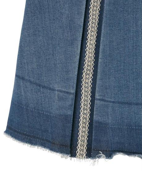 ストレッチデニムプリーツスカート  ブルー