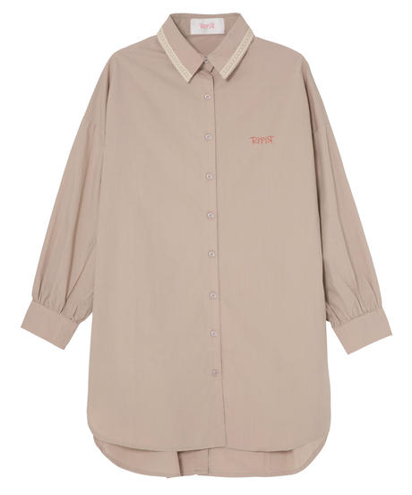 コットンオーバーサイズシャツ ベージュ
