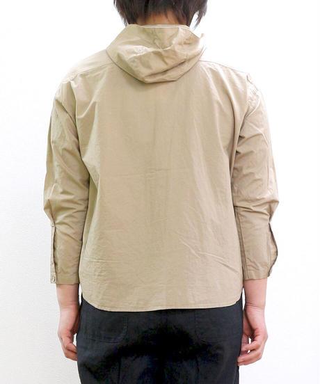 HEAVENLY コットンリネン タイプライターオープンフーデッドシャツ