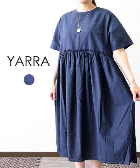 YARRA 異素材コンビ半袖ワンピース