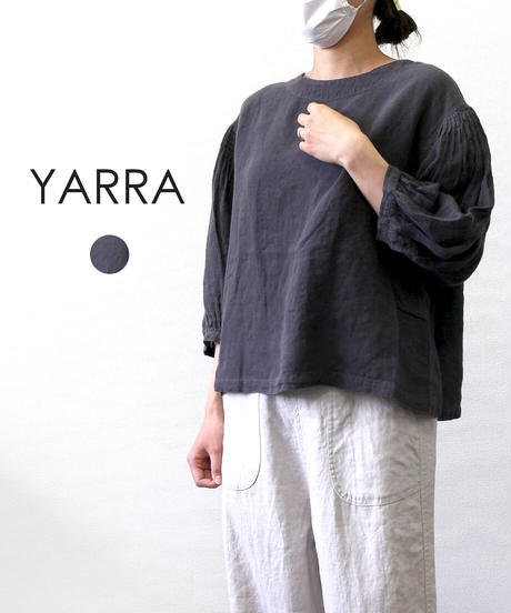 YARRA 異素材リネンパフブラウス