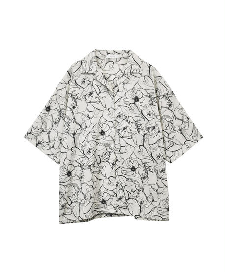 AR212SH0402 ユニセックスラインフラワーシャツ