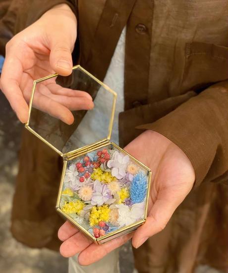 六角ガラスのジュエリーケースS
