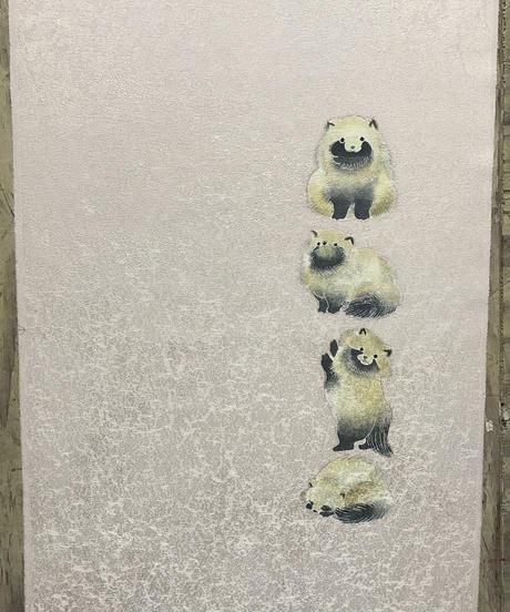 染め名古屋帯「ぽんぽこ」(仕立て代、送料込み)  4-026