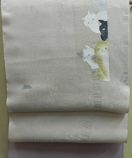 染め名古屋帯「ウィンドウキャット」(仕立て代、送料込み)   4-023