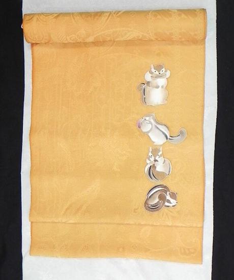 染め名古屋帯「リス・森の忍者」(税込み・仕立て代込み)   4-040