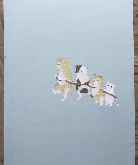 染め名古屋帯「電車猫」(仕立て代、送料込み)  4-021