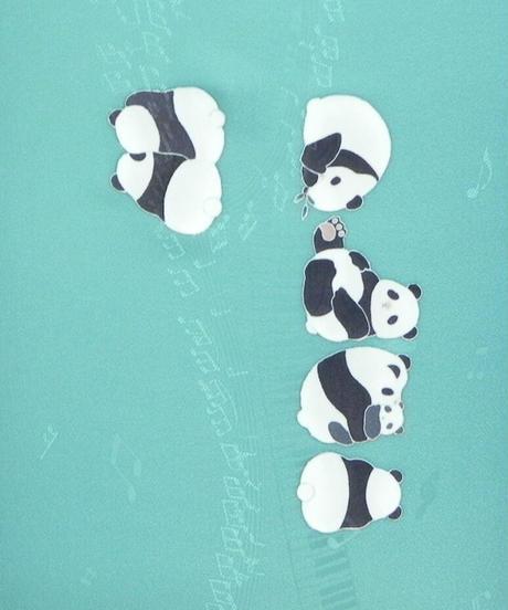 染め名古屋帯「パンダの休日2」(税込み・仕立て代込み)  4-043