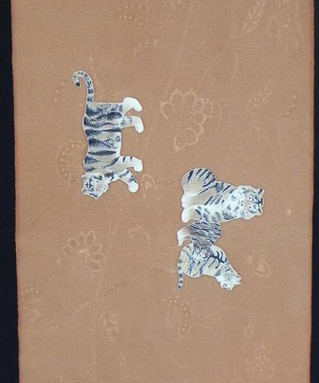 染め名古屋帯「虎。王者の休息」(税込み・仕立て代込み)   4-041