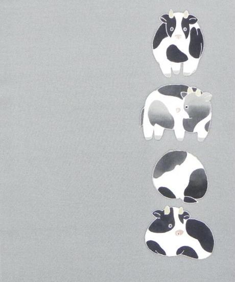 染め名古屋帯「牛・出番です」(税込み・仕立て代込み)  4-048