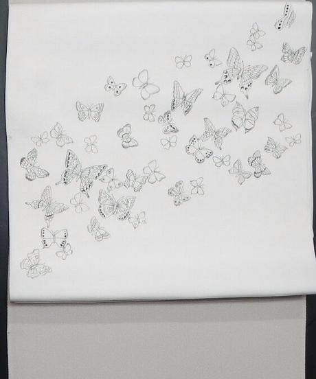 染め名古屋帯「墨線描き蝶模様」(税込み・仕立て代込み)  2-002