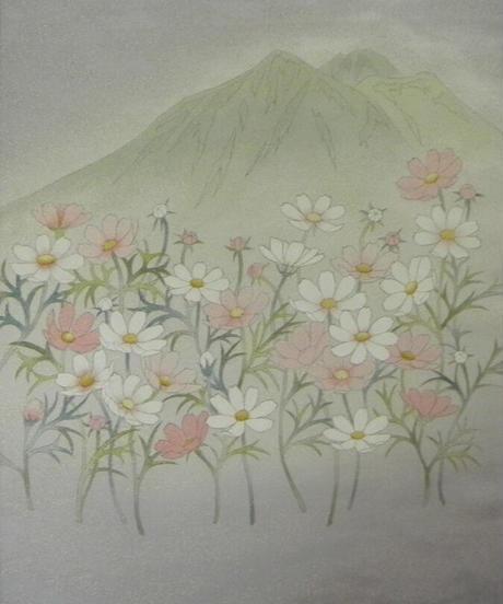 染め名古屋帯「秋桜街道」(税込み・仕立て代込み)  2-004