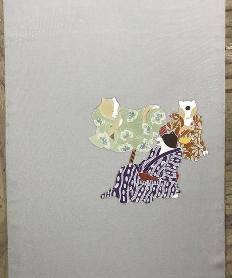 染め名古屋帯「化け猫なんて呼ばないで」(仕立て代、送料込み)   4-018