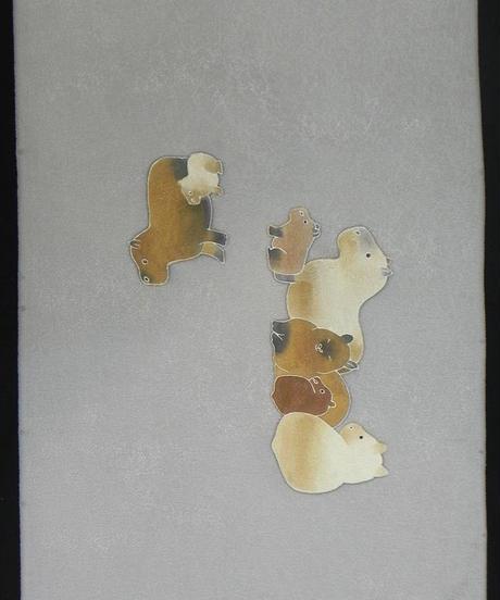 染め名古屋帯「カピバラ・のんびりゆったりの絆」(税込み・仕立て代込み)   4-031