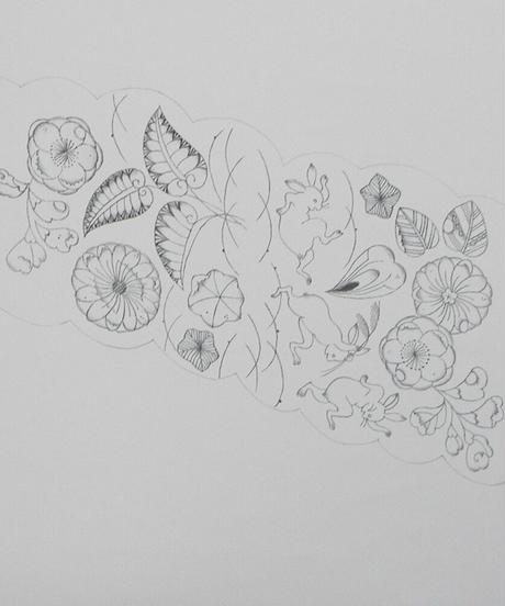 染め名古屋帯「辻ヶ花墨線・鳥獣戯画」(税込み・仕立て代込み)  1-003