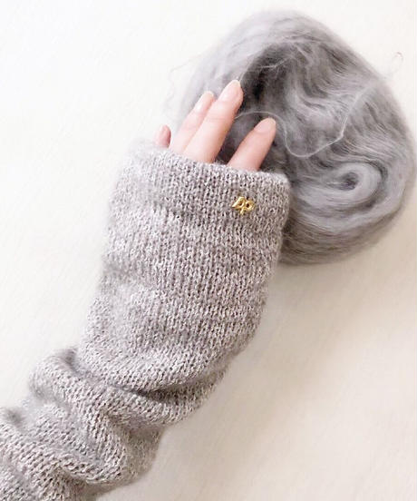 ◆10月上旬◆Meissa[メイサ] シルクモヘア・アームウォーマー / グレー系1