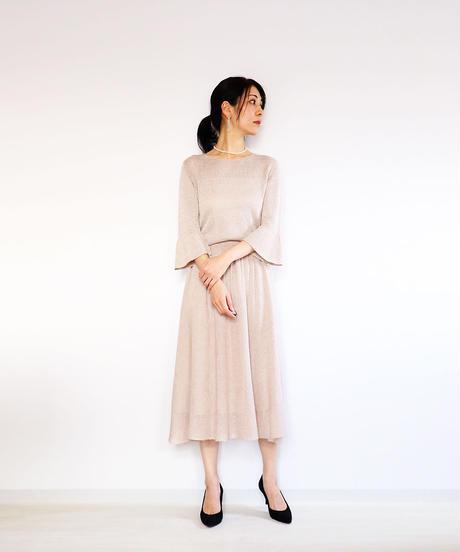 ◆即納◆Azha[アザー] ギャザー・ミモレ・スカート / ヌード・ベージュ