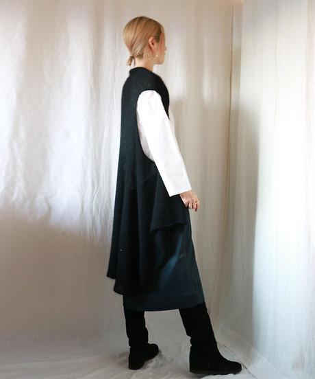 ◆即納◆Alula[アルラ] シルクモヘア・ロング・フレア・ジレ / ブラック