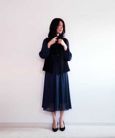◆即納◆Azha[アザー] ギャザー・ミモレ・スカート / ネイビー・ブルー