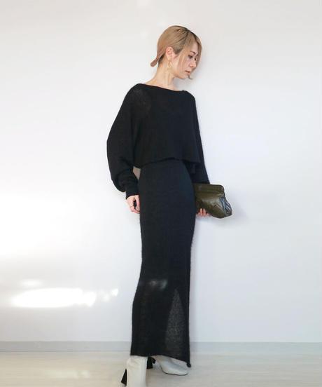 ◆受注制作◆Muhlifain[ムリファイン] シルクモヘア・スカート2 / ブラック