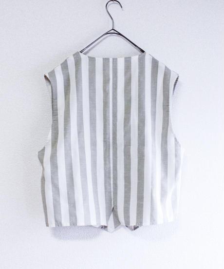 【Seek nur】Gray×White Big Stripe Vest