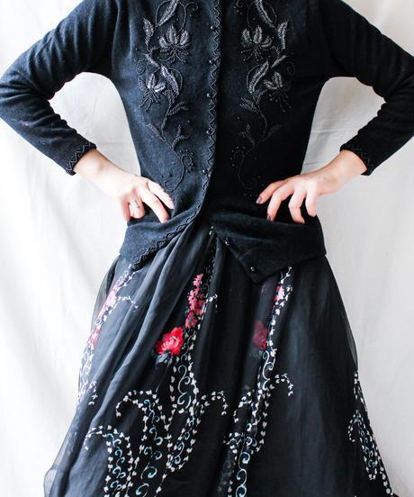 【Seek nur】VTG Black Beads work Cardigan
