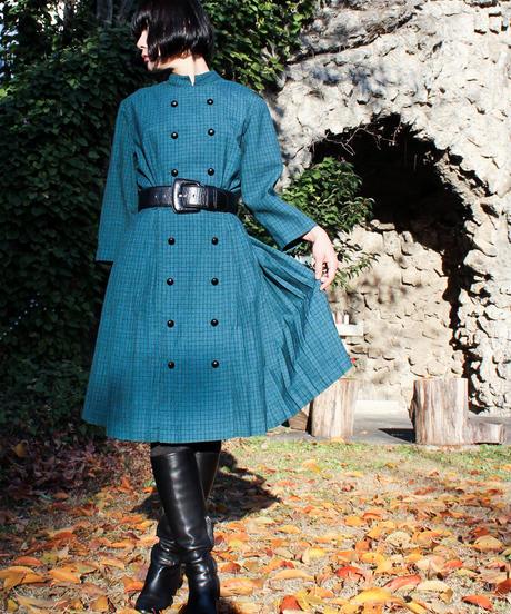 【Seek nur】1960's W-Germany Check Wool Dress