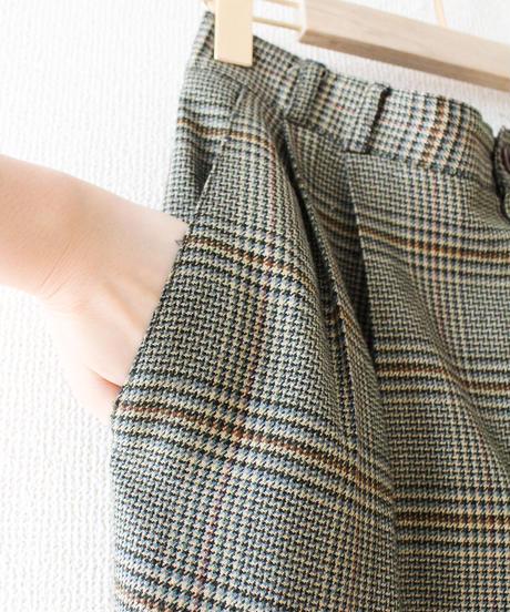 【Seek an nur】Glen Check Tuck Pants
