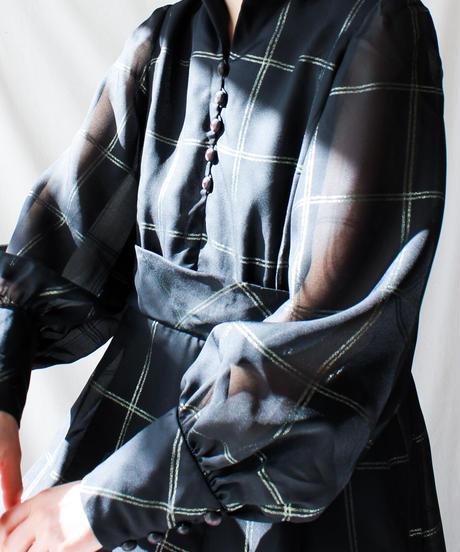 【Seek nur】Germany Check Sheer Maxi Dress