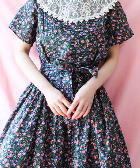 【tiny yearn】Lace Collar Flower Long Dress