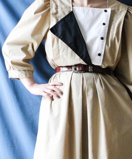 【Seek nur】Euro Square Neck Beige Dress