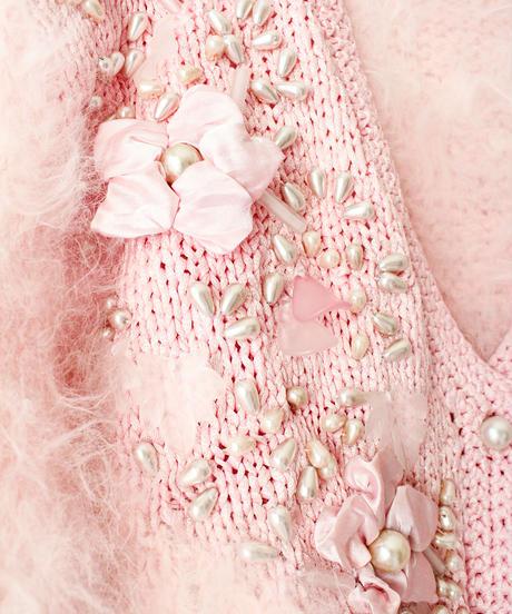 【tiny yearn】Euro Decoration Shaggy Knit Cardigan