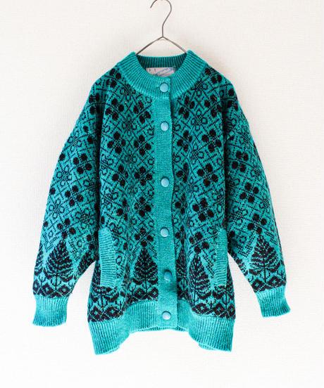 【tiny yearn】Retro Pattern Metallic Knit Cardigan